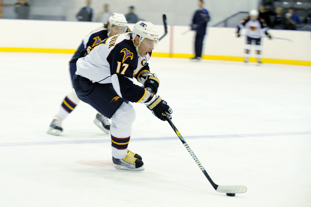 Ilya Kovalchuk practices with the Atlanta Thrashers.