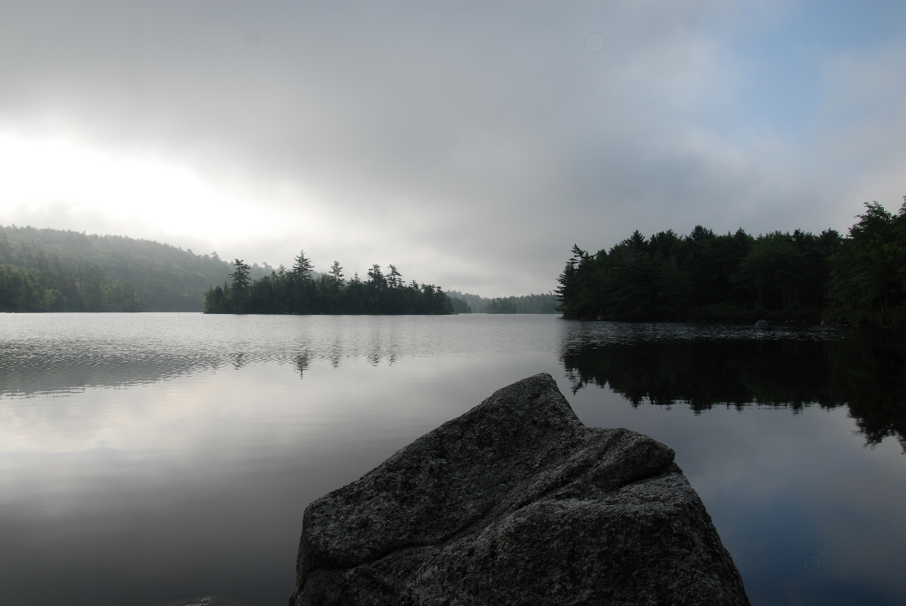 Foggy morning on Crowbar Lake.
