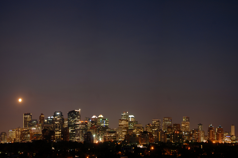 Moonrise over Calgary