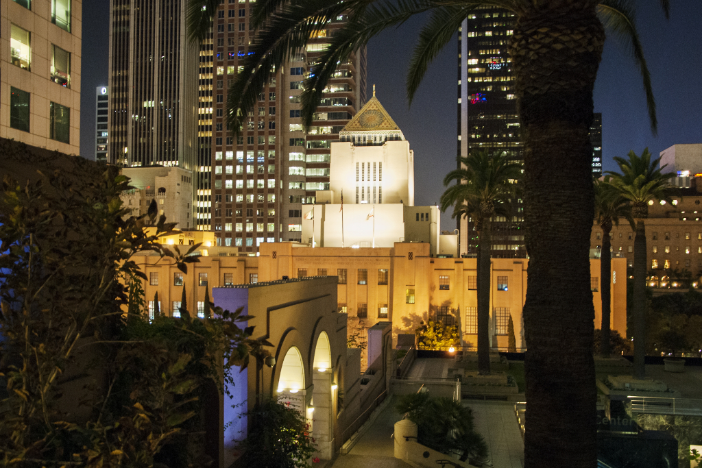 The historic Los Angeles Central Library and towers of the financial district.